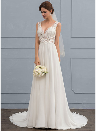 A-Line V-neck Court Train Chiffon Wedding Dress