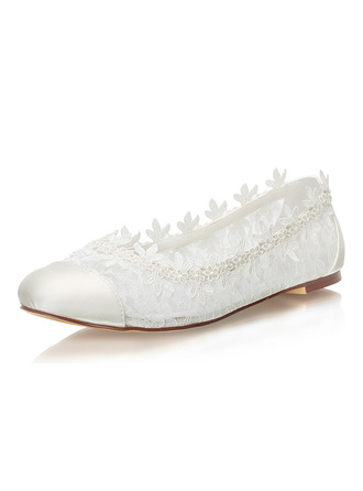 Women's Lace Silk Like Satin Flat Heel Closed Toe Flats With Others