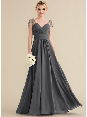 V-neck Floor-Length Chiffon Bridesmaid Dress With Ruffle Beading Sequins