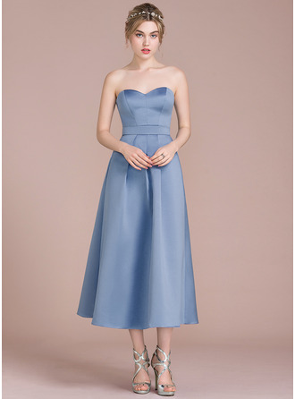 Sweetheart Tea-Length Satin Bridesmaid Dress
