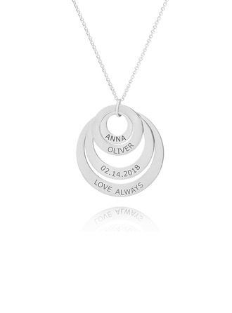 Custom Silver Engraving/Engraved Circle Family Four Name Necklace Circle Necklace With Kids Names