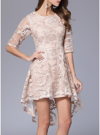 Cotton With Lace/Embroidery Asymmetrical Dress