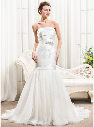 Trumpet/Mermaid Strapless Chapel Train Satin Tulle Wedding Dress With Ruffle Beading Sequins