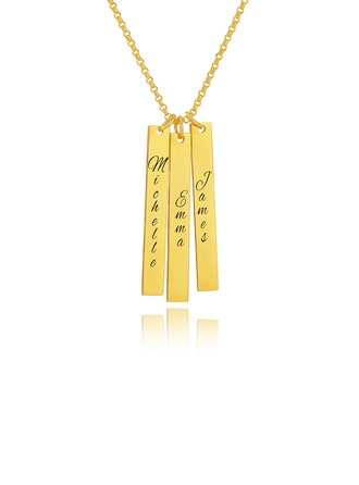 Custom 18k Gold Plated Silver Engraving/Engraved Family Three Bar Necklace