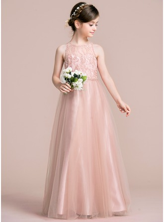 A-Line/Princess Scoop Neck Floor-Length Tulle Junior Bridesmaid ...