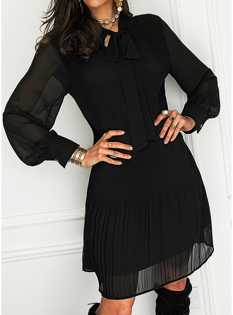 Solid Shift Butterfly Collar Long Sleeves Midi Elegant Little Black Tunic Dresses