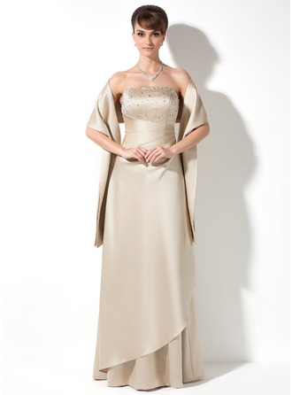 Strapless Floor-Length Satin Bridesmaid Dress With Ruffle Beading Sequins