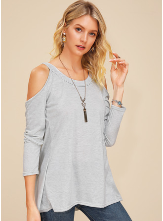 Long Sleeves Polyester Round Neck Cold Shoulder Plést ()