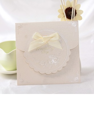 Classic Style Top Fold Invitation Cards With Ribbons