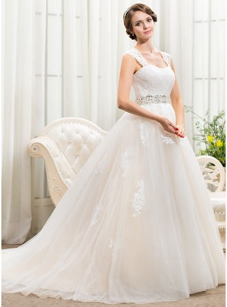 Ball-Gown Sweetheart Chapel Train Tulle Wedding Dress With Beading Appliques Lace Sequins