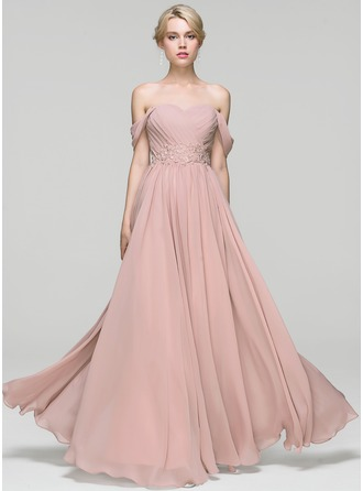 A-Line/Princess Off-the-Shoulder Floor-Length Chiffon Prom Dress With Ruffle Lace Beading