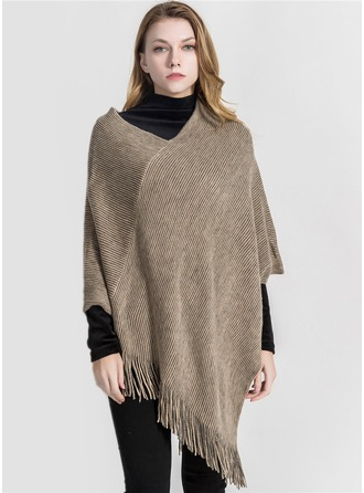 Solid Color Oversized/fashion Artificial Wool Poncho