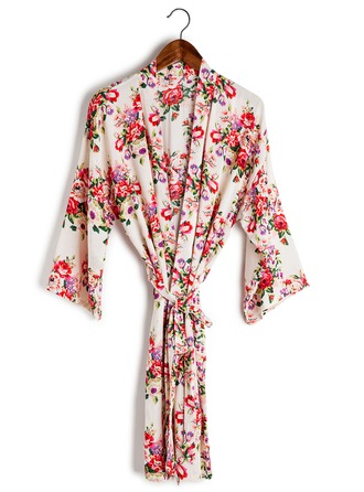 Bride Bridesmaid Cotton With Tea-Length Floral Robes