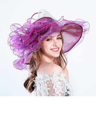 Ladies' Glamourous/Eye-catching/Charming Net Yarn With Flower Beach/Sun Hats/Kentucky Derby Hats/Tea Party Hats