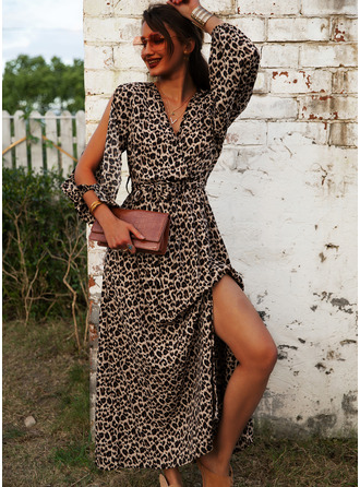 Leopard A-line Cold Shoulder Long Sleeves Maxi Sexy Vacation Skater Dresses