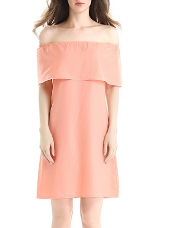 Chiffon With Stitching Above Knee Dress