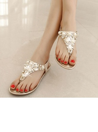 Femmes Similicuir Talon plat À bout ouvert Sandales Escarpins Beach Wedding Shoes avec Perle d'imitation Strass