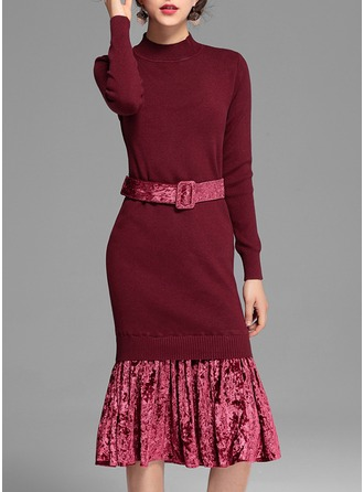 Synthetic Fiber With Stitching/Ruffles Midi Dress