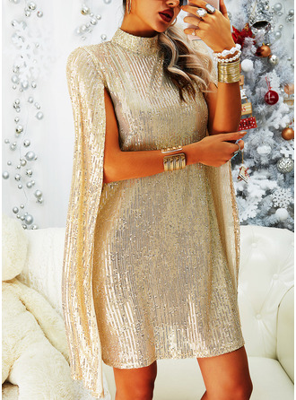 Sequins Shift High Neck Long Sleeves Split Sleeve Midi Elegant Party Tunic Dresses