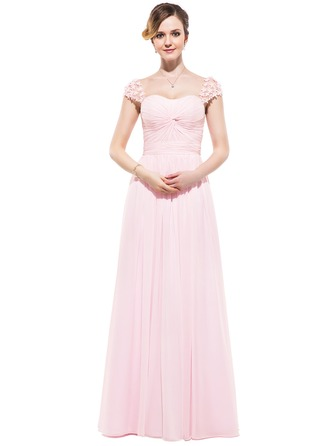 A-Line/Princess Sweetheart Floor-Length Chiffon Evening Dress With Ruffle Beading Flower(s)