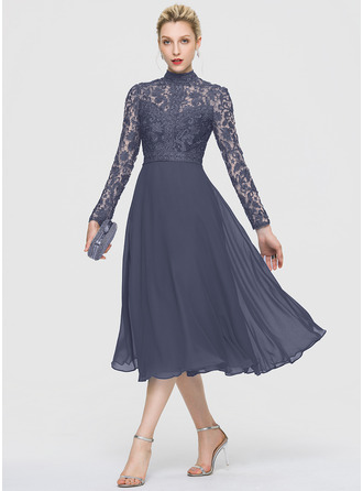 A-Linie High Neck Wadenlang Chiffon Cocktailkleid