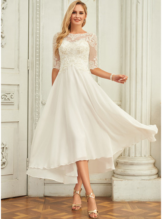 A-Line Scoop Neck Asymmetrical Chiffon Wedding Dress With Beading Sequins