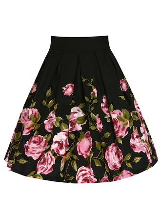 Cotton Floral Above Knee A-Line Skirts