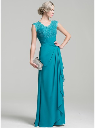V-neck Floor-Length Chiffon Mother of the Bride Dress With Cascading Ruffles
