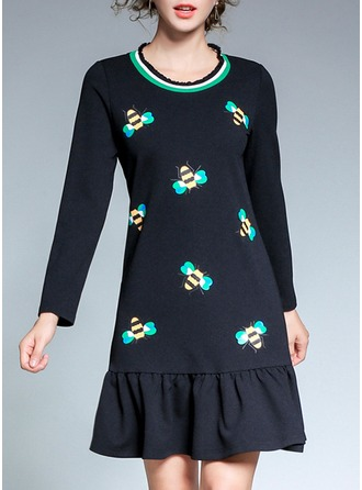 Polyester With Stitching/Print/Ruffles Above Knee Dress