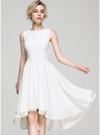 Scoop Neck Asymmetrical Stretch Crepe Cocktail Dress