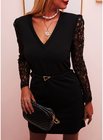 Lace Solid Bodycon V-Neck Long Sleeves Puff Sleeves Midi Elegant Little Black Party Dresses