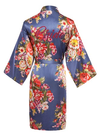 Personalized Bride Bridesmaid charmeuse With Tea-Length Personalized Robes Floral Robes