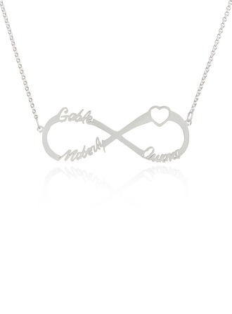 Custom Sterling Silver Infinity Three Name Necklace Infinity Name Necklace With Heart