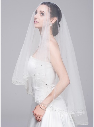 One-tier Beaded Edge Fingertip Bridal Veils With Beading/Sequin