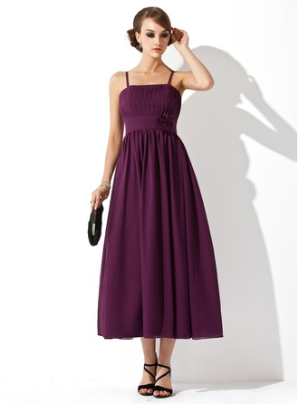 Empire Tea-Length Chiffon Chiffon Maternity Bridesmaid Dress With Ruffle Flower(s)
