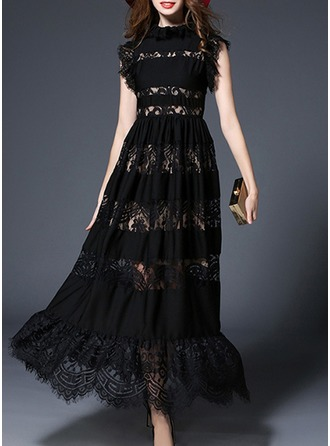 Lace With Lace/Stitching/Hollow/Ruffles Maxi Dress