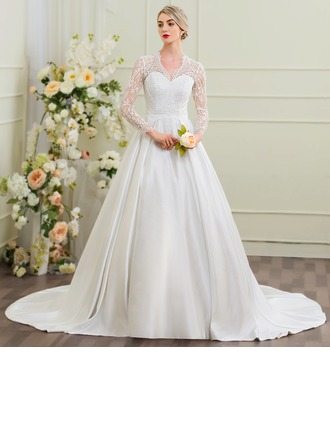Ball-Gown V-neck Cathedral Train Satin Wedding Dress
