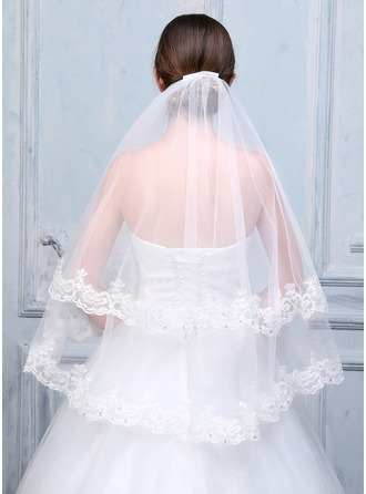 Two-tier Lace Applique Edge Fingertip Bridal Veils With Applique