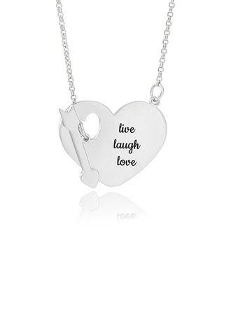 Custom Sterling Silver Engraving/Engraved Heart Necklace With Arrow