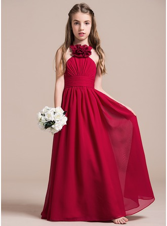 A-Line/Princess Halter Floor-Length Chiffon Junior Bridesmaid Dress With Ruffle Flower(s)