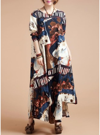 Cotton/Ramie With Print Maxi Dress