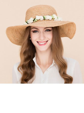 Ladies' Beautiful Rattan Straw With Silk Flower Beach/Sun Hats