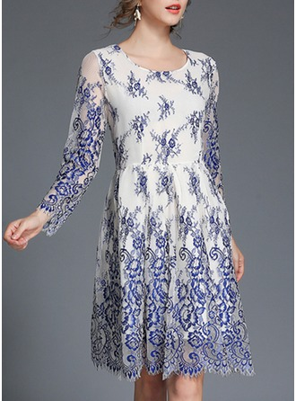 Polyester With Lace/Embroidery/Crumple Knee Length Dress