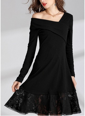 Polyester/Cotton With Stitching Knee Length Dress
