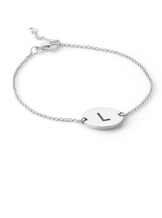 Christmas Gifts For Her - Custom Platinum Plated Sterling Silver Delicate Chain Name Bracelets Initial Bracelets
