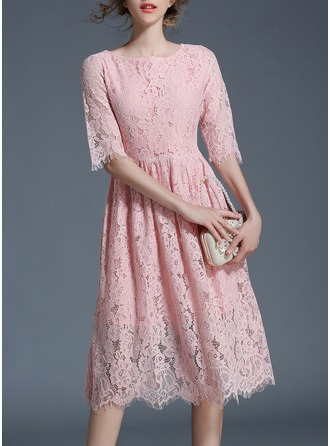 Polyester/Lace With Stitching Knee Length Dress