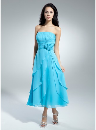 A-Line/Princess Strapless Tea-Length Chiffon Homecoming Dress With Flower(s) Cascading Ruffles