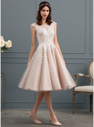 Knee-Length Tulle Wedding Dress