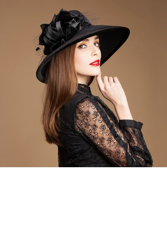 Ladies' Glamourous Autumn/Winter Wool With Tulle Bowler/Cloche Hat