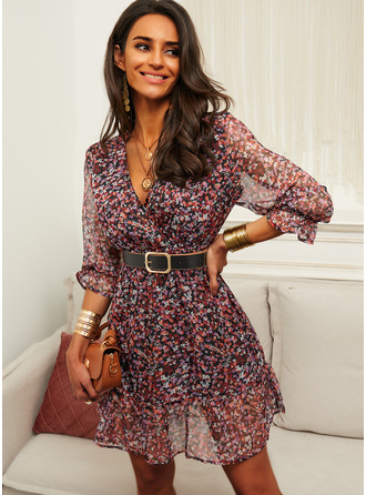 Floral Print A-line V-Neck 3/4 Sleeves Midi Casual Skater Dresses